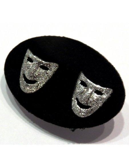 Venetian Carnival Mask Earrings Silver