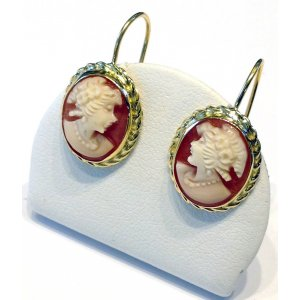 Flora Gold Cameo Earrings Dangle Rope