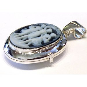 Three Graces locket blue cameo necklace
