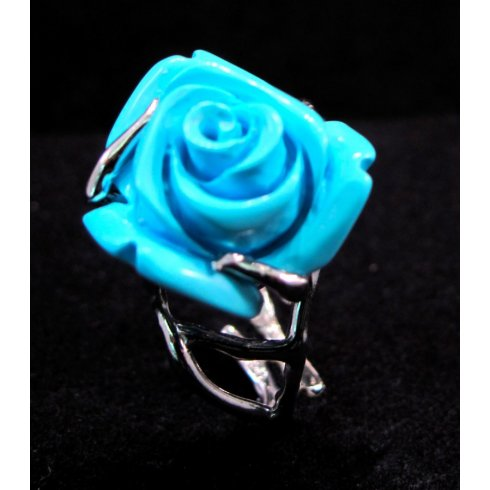 Turquoise Engraved Rose Ring