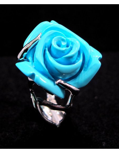 Engraved Rose Ring Silver