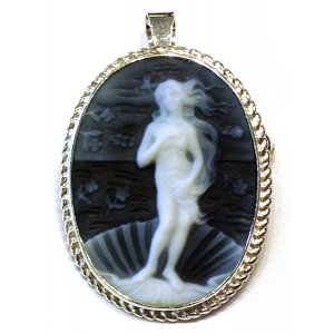 Birth of Venus brooch and pendant blue cameo silver