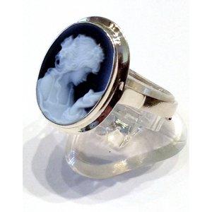 Primavera Cameo Blue Agate Silver Ring