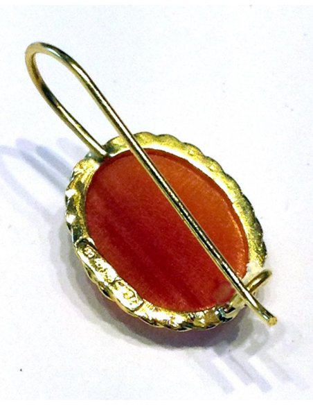 Shell Cameo Gold Earrings Back