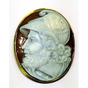 Male Warrior Man Cameo Shell Gold