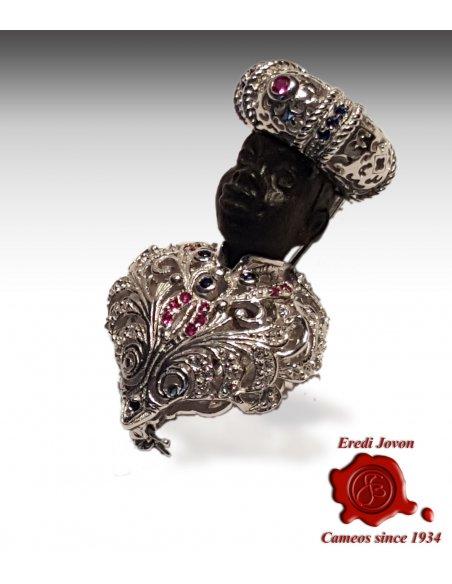 Blackamoor Brooch Jewelry Silver Gold Plated