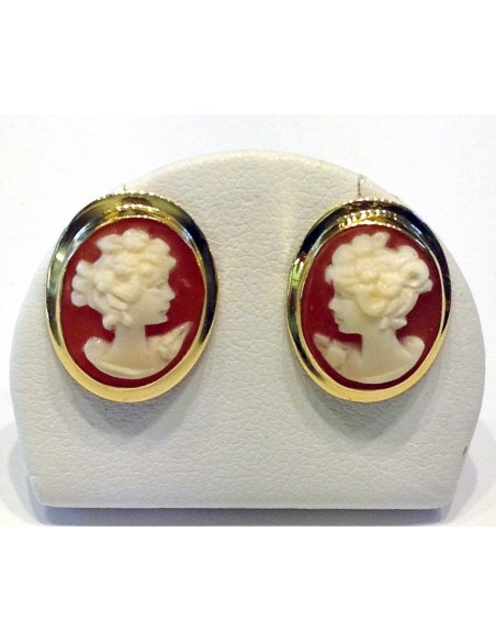 Conch Cameo Gold Earrings Studs