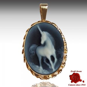 Unicorn Blue Cameo Gold Necklace