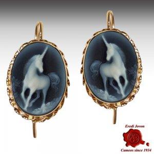 Unicorn Blue Cameo Gold Earrings