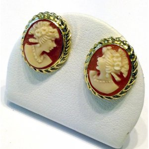 Gold Cameo Earrings Studs Rope Flora