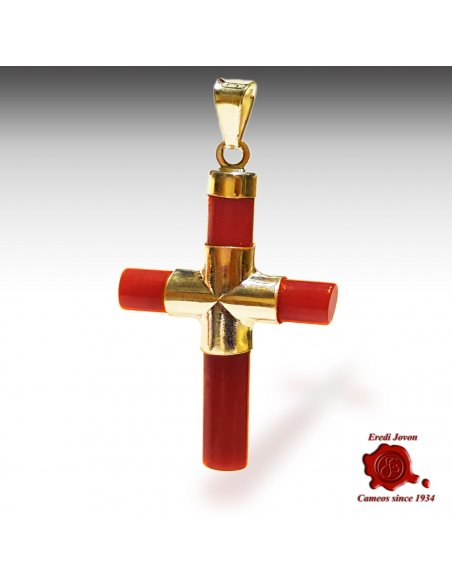 Cross Red Coral Gold