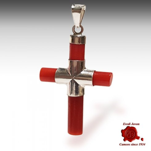 Cross Red Coral Silver