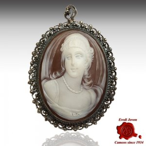 Sardonica Filigree Cameo Silver Antique