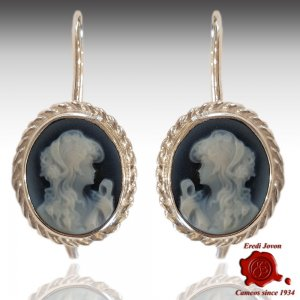 Blue cameo earrings silver Hope