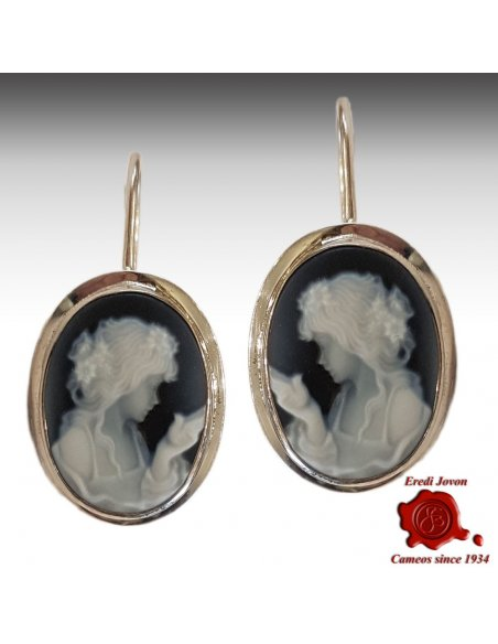 Cameo Earrings Blue Agate Silver Primavera