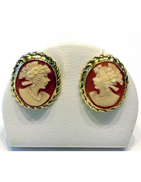 Studs Cameo Earrings Gold