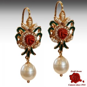 Red Coral Earrings with Pearls