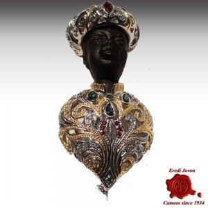 Venetian Blackamoor Brooch Jewelry Silver
