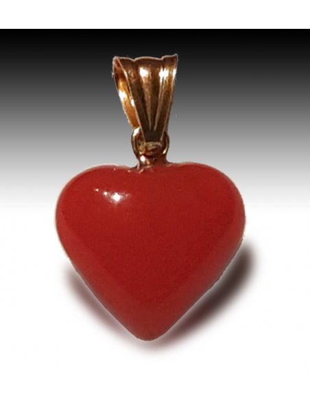 Red Coral Heart in Gold