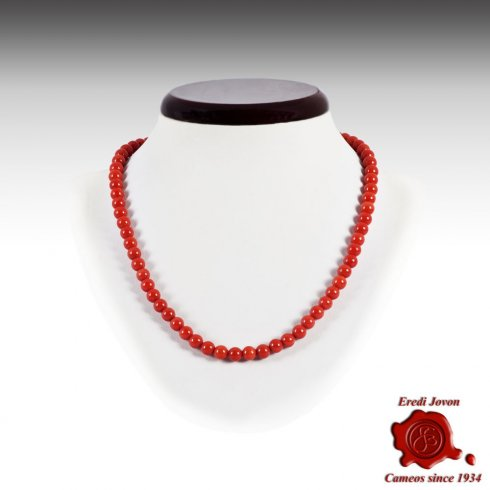 Red Coral Beads Necklace from Italy
