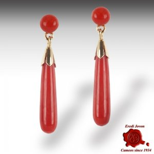 Orecchini Pendenti in Corallo Rosso