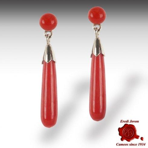Red Italian Coral Dangling Earrings