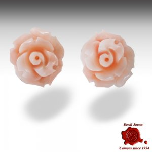 Pink coral Rose Earrings Gold