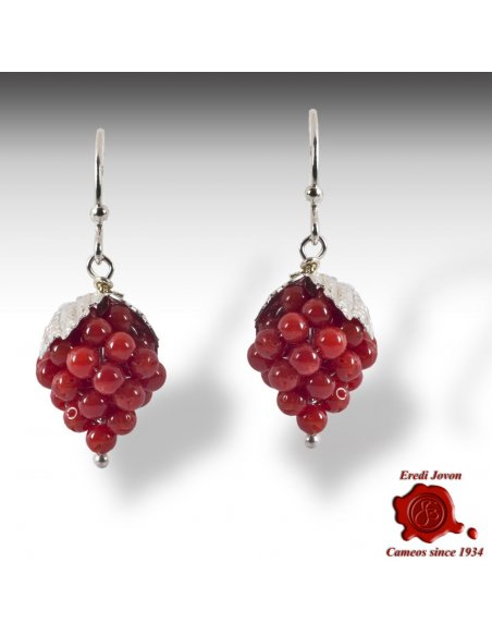 Red Coral Grapes Earrings Silver
