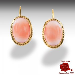Angel Skin Coral Dangling Earrings