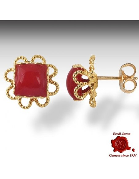 Gold Filigree and Red Coral Earrings