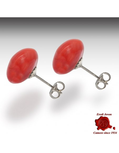 Corallo Rosso Orecchino Argento Bottone
