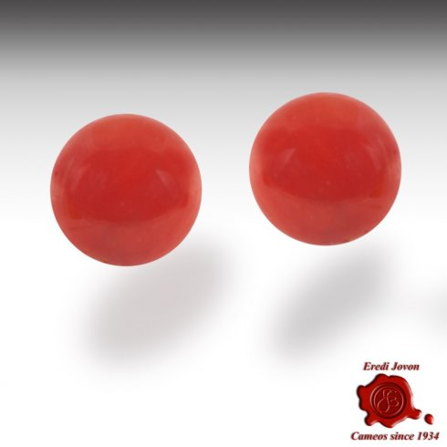 Red Coral Beads Stud Earrings Gold