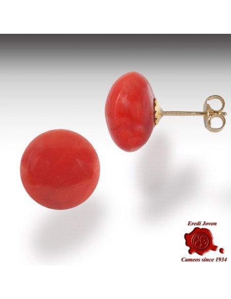 Corallo Rosso Orecchino Pallino Oro