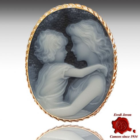 Blue Mother and child Cameo Gold brooch