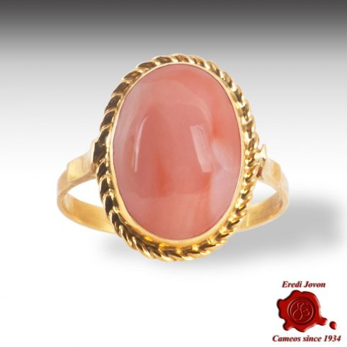 Pink Coral Ring Gold