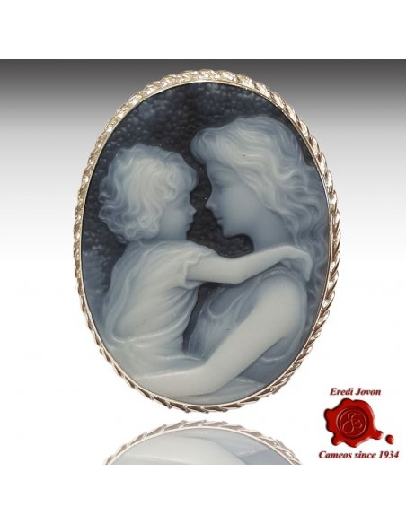 Mother and Child blue cameo brooch and pendant