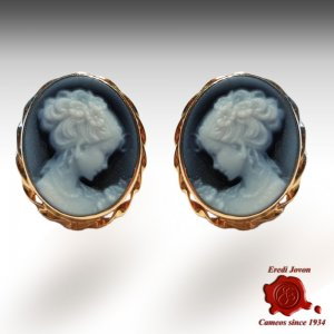 Blue Agate Cameo Earrings