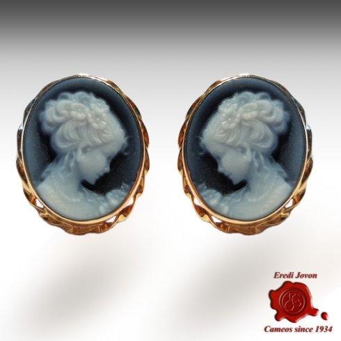 Blue Agate Cameo Earrings