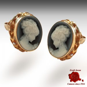 Venice yellow gold cameo earrings