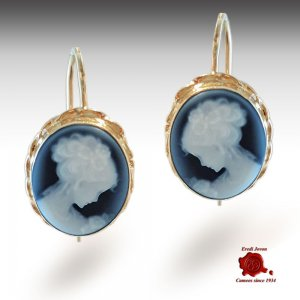 Venice yellow gold cameo dangle earrings
