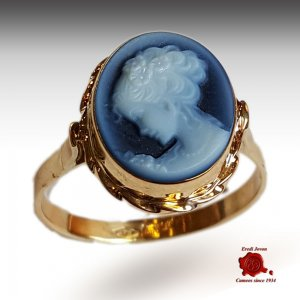 Venice yellow gold cameo ring rope