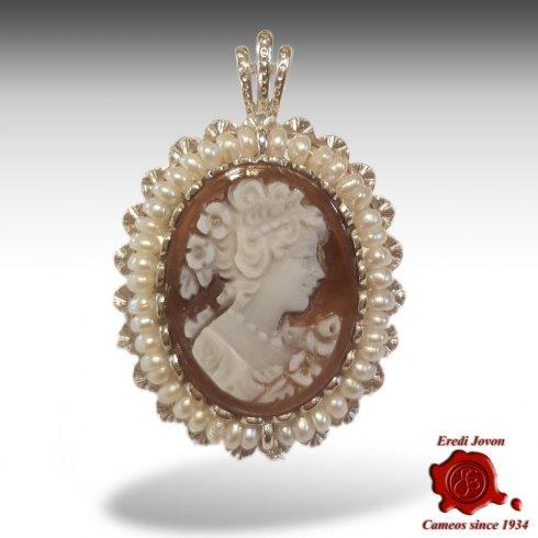 Sardonyx shell cameo brooch /& pendant Ceres italian cameo jewelry donadio cameos shell broche cam\u00e9e camafeo colgante \u30ab\u30e1\u30aa\u30d6\u30ed\u30fc\u30c1 \u043a\u0430\u043c\u0435\u044f \u0431\u0440\u043e\u0448\u044c