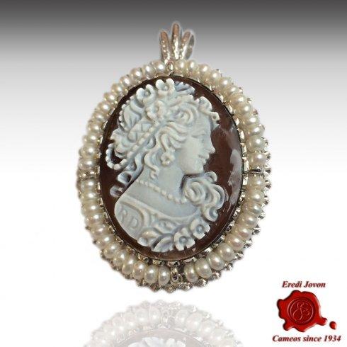 Cammeo Sardonico con Perle in Argento