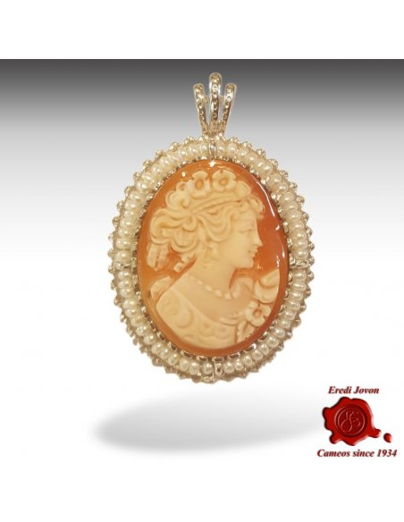 Cameo with Pearl Cornelian Shell Silver