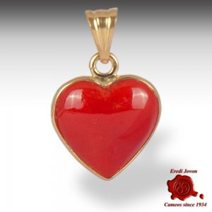 Red Coral Pendant Heart Shaped in Gold