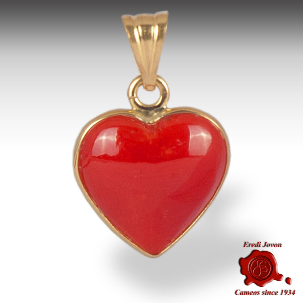 b707c8dbb Coral Pendant Red Jewelry Heart Shaped in Gold - Jovon Venice