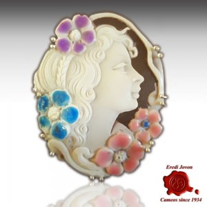 Antique Aphrodite Shell Cameo Enamel