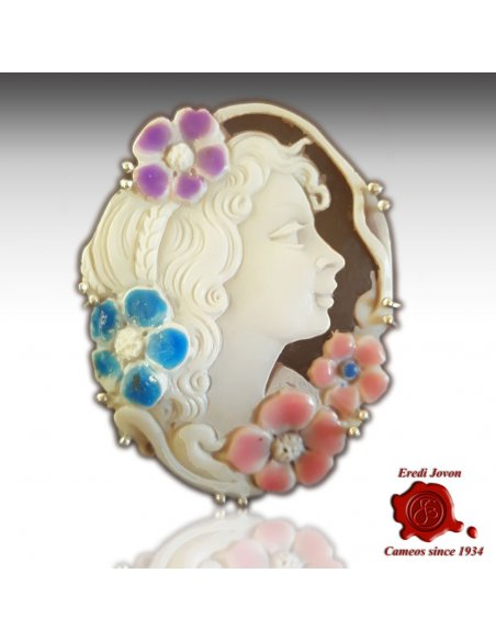 Antique Shell Cameo Enamel