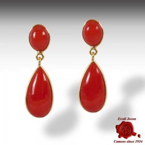 Red Coral Drop Earrings Double