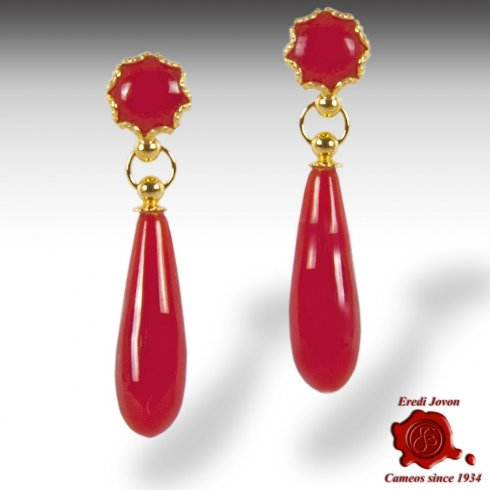 Red Coral Drop Gold Earrings Filigree